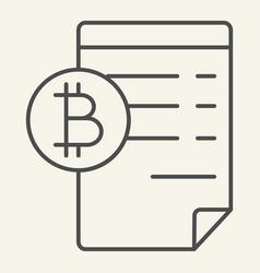 Blockchain contract thin line icon bitcoin vector