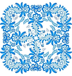 Blue floral ornament in gzhel style vector