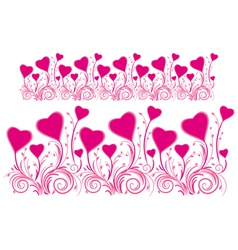 Border of stylized hearts for design vector