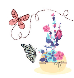 Butterfly and colorful flower background im vector