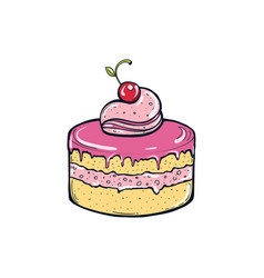 cake with berries vector image