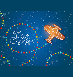Christmas card with gingerbread airplane and sugar vector