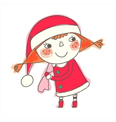 Christmas girl standing vector