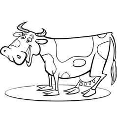 Coloring page of funny farm cow vector
