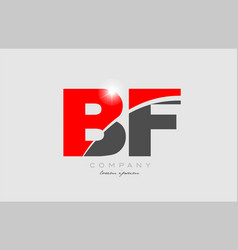 Combination letter bf b f in grey red color vector