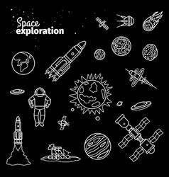 Cosmic doodle elements space exploration white vector