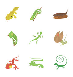 different lizard icons set cartoon style vector image vector image