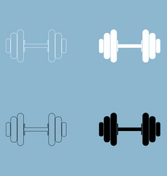 Dumbbell the black and white color icon vector