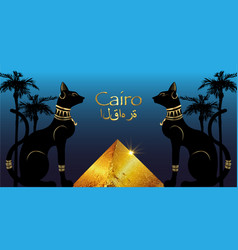 Egyptian cats and antique pyramid cairo city vector