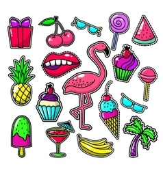 Embroidery tropical fashion patches Patch vector