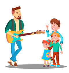 Father plays the guitar for children vector