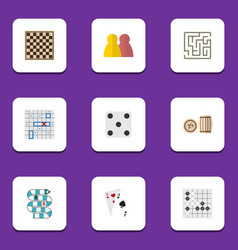 flat icon entertainment set of ace chess table vector image