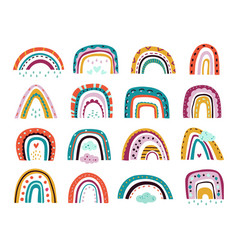 flat scandinavian rainbows color shapes vector image