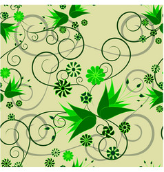floral abstract ornament on a green background vector image