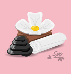 Flower with stones and towel for message vector