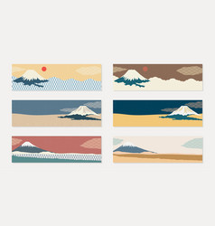 fuji mountain background with japanese wave vector image