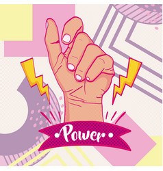 girl power memphis styles vector image