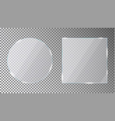 glass plates set in circle and square shape vector image
