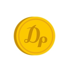 Gold coin with drachma sign icon flat style vector image