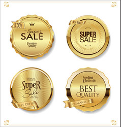 Golden retro sale badges and labels collection 4 vector