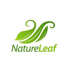 green nature leaf logo icon concept design vector image