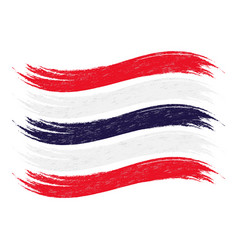 Grunge brush stroke with national flag of thailand vector
