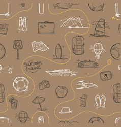 Hand drawn travel doodles seamless background vector