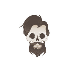 hipster male skull with black hair and beard vector image