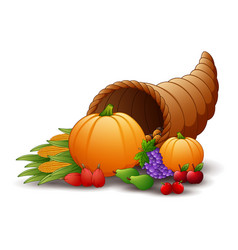 horn of plenty cornucopia with fruits and pumpkins vector image