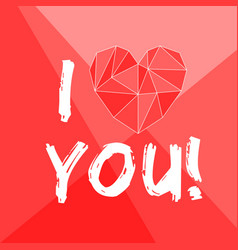 i love you valentines card with heart on red vector image
