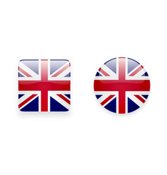 Icons with Union Jack flag vector
