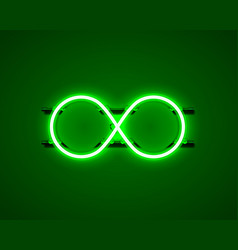 infinity neon symbol on green background vector image