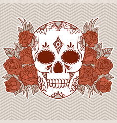 isolated a skull with roses and leaves vector image