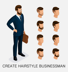 isometric businessmen set head vector image