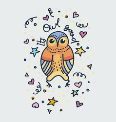 it is owl good cute doodle owl hand drawn vector image