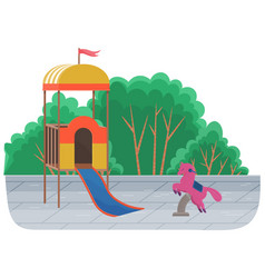 Kids playground equipment with swings slides vector