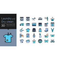 Laundry and dry clean icons filled outline design vector