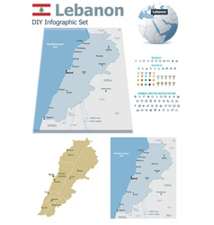 Lebanon maps with markers vector image