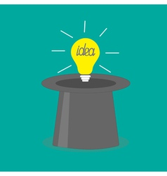 Light bulb in magic hat Idea concept Flat design s vector