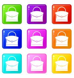 little woman bag icons 9 set vector image