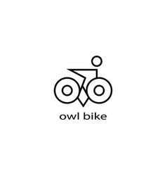 Logo owl and a simple bicycle line design vector