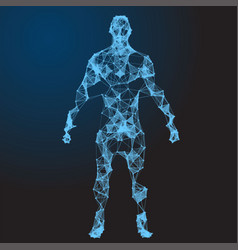 Low poly wireframe human body abstract vector