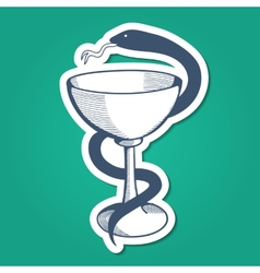 Medical emblem with goblet and snake vector image