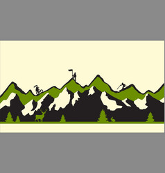 Modern green flat mountains vector