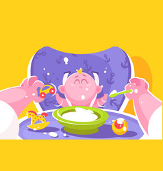 mother feeding little baby flat poster vector image