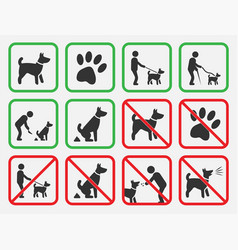 No dogs signs dogs allowed and prohibited icons vector