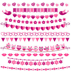 Pink garland and flags set isolated on white vector