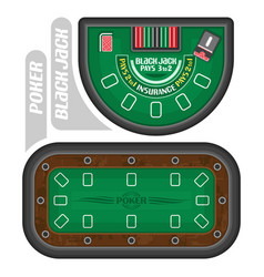 Poker and blackjack tables vector