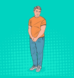 Pop art shy fat man overweight ashamed young guy vector