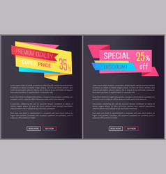 Premium quality super price 35 off web posters set vector